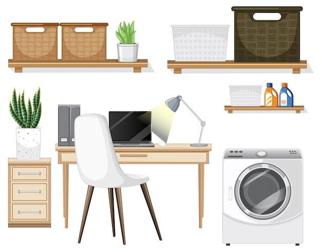 Set di mobili per l'interior design su sfondo bianco