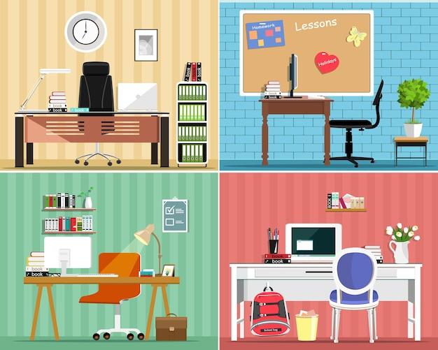 Set di mobili con tavoli, sedie, computer, giri. interni delle camere.