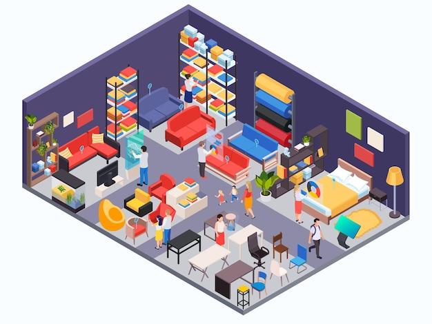 Illustrazione isometrica del negozio di mobili con visitatori e oggetti interni per il soggiorno della camera da letto della cucina