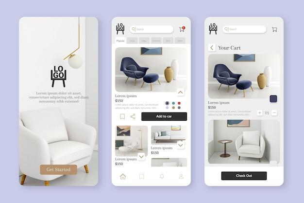 Modello di app per lo shopping di mobili