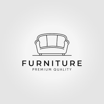 Mobili del divano logo line art vector illustration design
