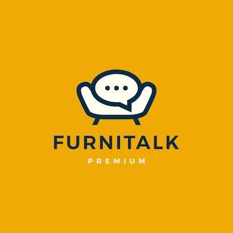 Mobili parlare chat bolla divano sedia logo icona vettore illustrazione
