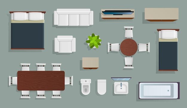Illustrazione di design moderno appartamento vista dall'alto di mobili