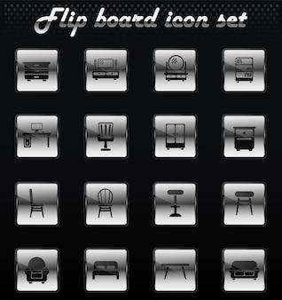Icone meccaniche flip mobili vettoriali per la progettazione dell'interfaccia utente