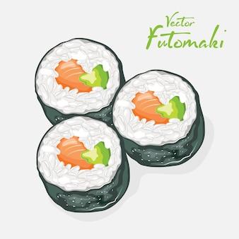Rotoli di sushi futomaki con riso all'aceto, salmone affumicato, avocado, cetriolo avvolti intorno