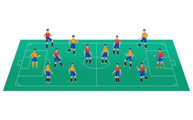 Campo da calcetto con i giocatori