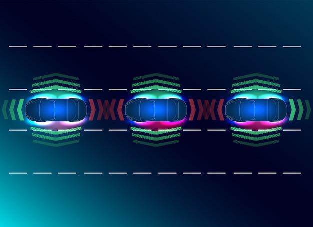 Concetti futuri smart auto. hud, gui, ologramma il sistema di frenatura automatico evita incidenti stradali da incidenti stradali.