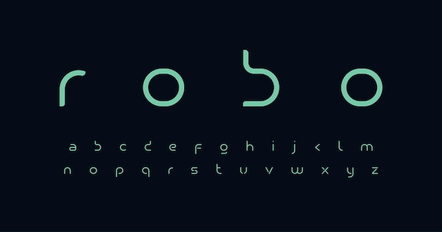 Futuro carattere alfabeto lettere minuscole minime spazio intelligente design tipografico per la tecnologia