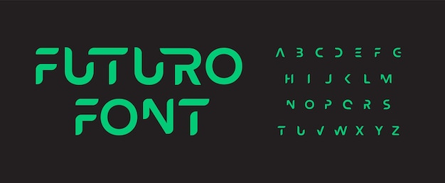 Futuro carattere alfabeto fantascienza minimale e lettere futuristiche design tipografico spazio intelligente