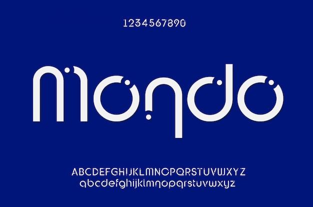 Caratteri di alfabeto moderno creativo di carattere futuro