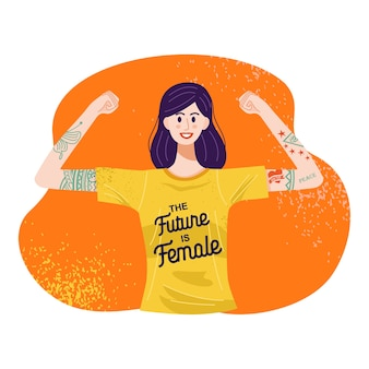 Il futuro è il concetto femminile, illustrazione di una donna tatuata in piedi con le braccia alzate.