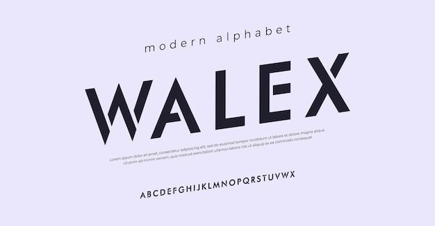 Futuro moderno alfabeto carattere tipografia stile urbano