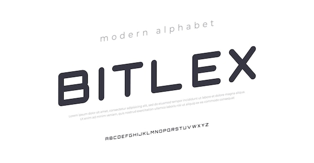 Futuro moderno corsivo alfabeto carattere tipografia stile urbano