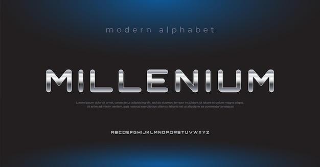 Futuro carattere alfabeto metallico moderno tipografia stile urbano