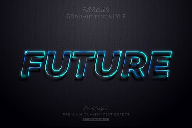 Futuro neon blue glow modificabile effetto testo stile carattere