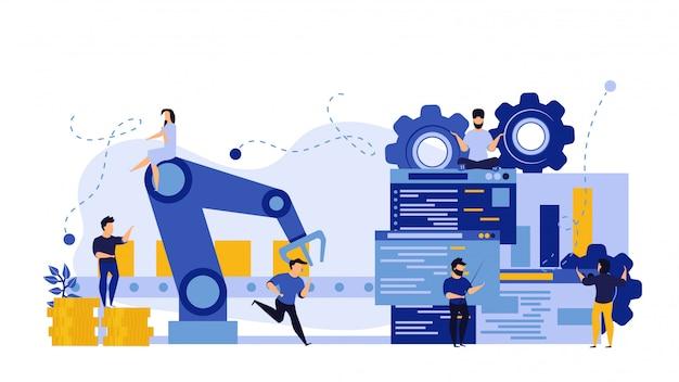 Futuro processo di produzione con grafico grafico informativo