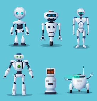 Robot futuri e personaggi dei cartoni animati di androidi
