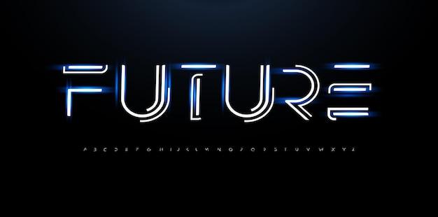 Carattere di innovazione della linea alfabeto stile futuro tipo cyber tech per innovare il logo futuristico techno