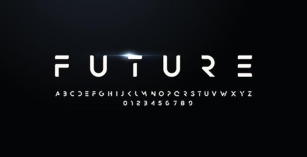 Carattere stile futuro lettere e numeri in grassetto tipo di design futuristico per logo moderno vettore minimalista