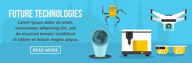Tecnologie future banner concetto orizzontale Vettore Premium