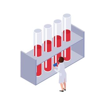 Icona isometrica della tecnologia futura con personaggio femminile e provette da laboratorio con sangue 3d