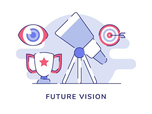 Telescopio di visione futura isolato su bianco