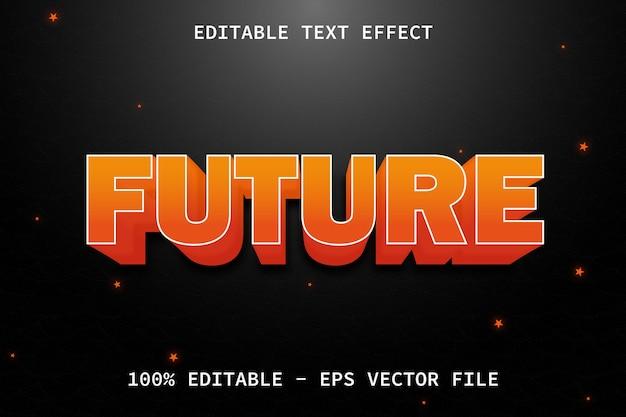 Futuro con effetto di testo modificabile in stile moderno rilievo
