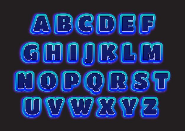 Set di alfabeti di dimensione 3d futuristici