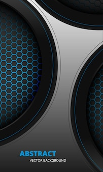 Futuristico astratto sfondo verticale grigio e blu con fibra di carbonio esagonale