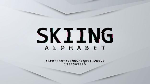 Alfabeto futuristico con effetto glitch