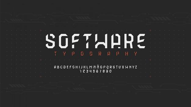 Alfabeto futuristico con effetto tecnologico
