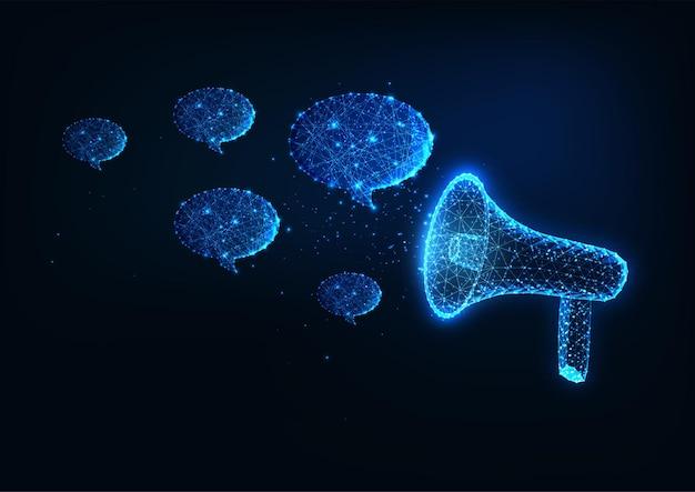 Concetto futuristico della pubblicità di promozione dell'annuncio con il megafono e le bolle di discorso
