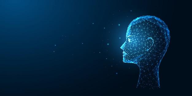 Intelligenza artificiale futuristica o concetto di riconoscimento facciale con testa umana poligonale bassa incandescente di profilo