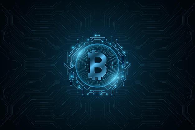 Valuta digitale bitcoin blu futuristico.