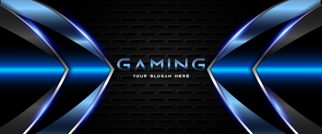 Modello di banner di gioco futuristico blu e nero