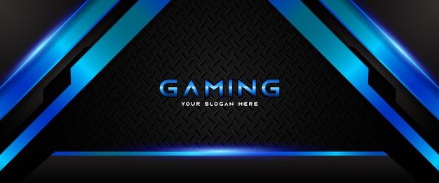 Modello di banner di social media intestazione di gioco futuristico blu e nero