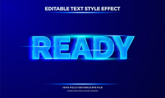 Tema di movimento del testo di colore blu futuristico. effetto di stile di testo modificabile moderno.