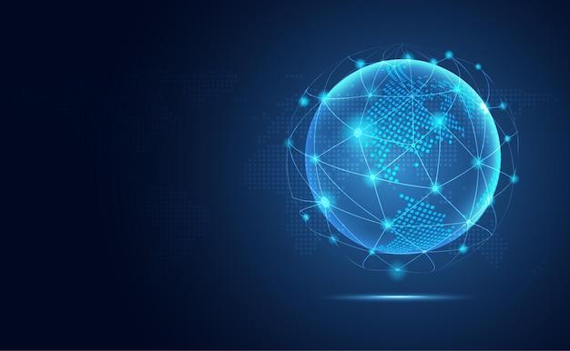 Fondo futuristico di tecnologia dell'estratto della terra blu.