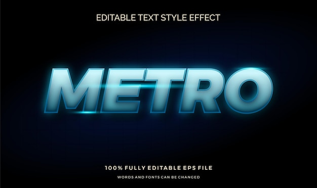 Effetto stile testo futuristico luce blu. carattere modificabile