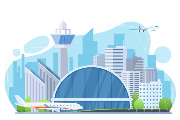 Edificio futuristico con torre di controllo del traffico aereo e grattacieli