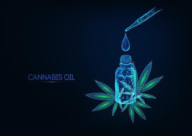 Futuristico concetto di estratto di olio di cannabidiolo con foglie incandescenti di bottiglia, goccia, pipetta e cannabis