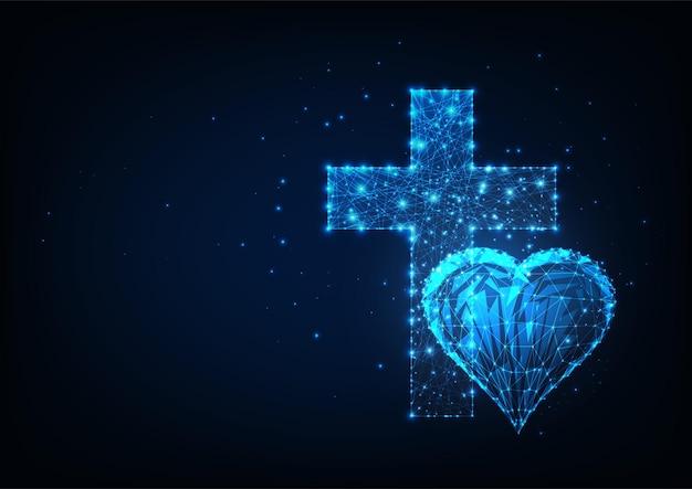 Concetto futuristico di cristianesimo con cuore poligonale basso incandescente e croce su blu scuro