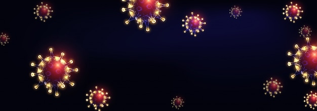 Modello di virus corona futuristico con cellule di virus poligonali basse incandescente su viola scuro
