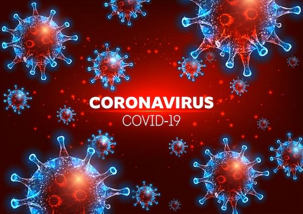 Futuristico coronavirus 2019-ncov, covid-19 modello di banner web su sfondo rosso.