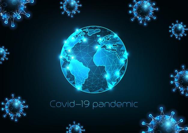 Futuristico concetto di pandemia di coronavirus covid-19 intorno al banner web del globo terrestre