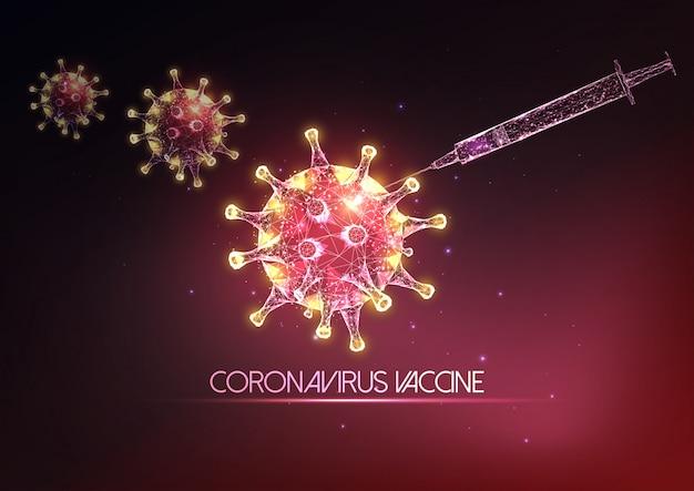 Futuristico concetto di vaccino covid-19 coronavirus con poli-siringa a basso poli incandescente e molecole di virus