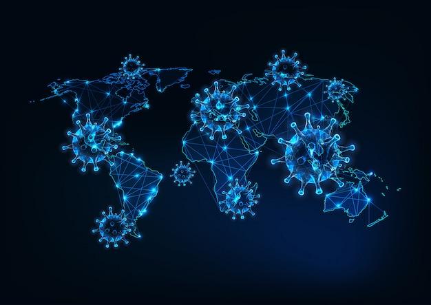 Futuristica pandemia di coronavirus nel mondo con brillanti cellule virali poligonali basse e mappa del mondo
