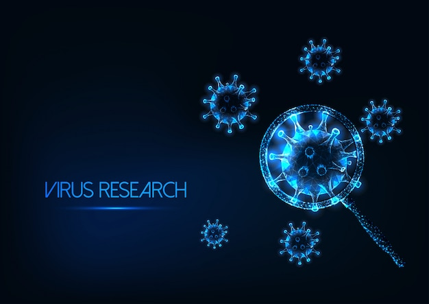 Futuristico concetto di ricerca coronavirus sars-cov2 con cellule virali incandescenti sotto la lente d'ingrandimento