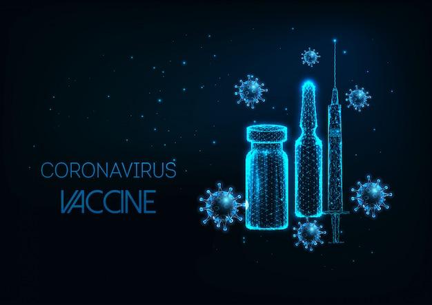 Futuristico concetto di vaccino contro il coronavirus con fiala poli basso, siringa e cellula virale incandescente