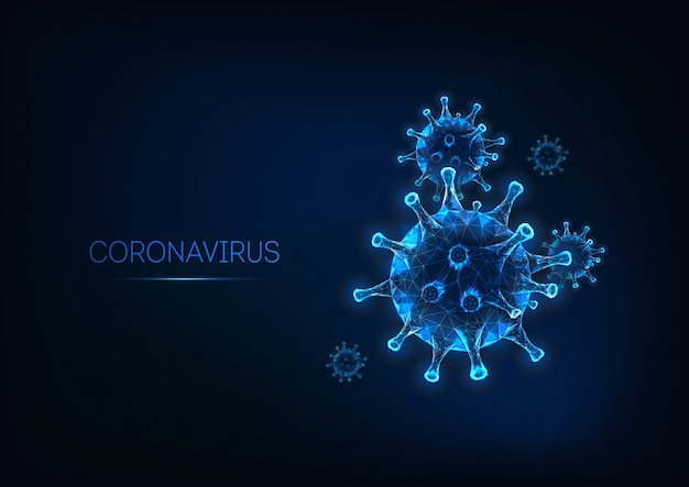Futuristico modello di banner web coronavirus con cella di virus poligonale bassa incandescente su blu scuro